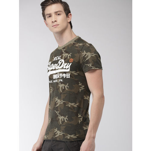 Superdry Men Green Embossed Round Neck T-shirt