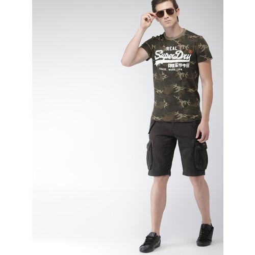 Superdry Men Green Embossed Round Neck T-shirt