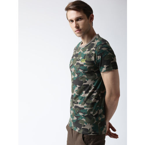 Superdry Men Olive Green & Beige Camouflage Print Round Neck T-shirt