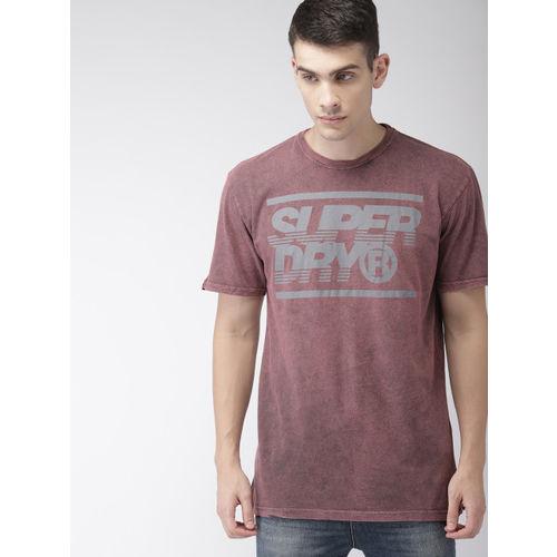 Superdry Men Pink Slim Fit Printed Round Neck T-shirt