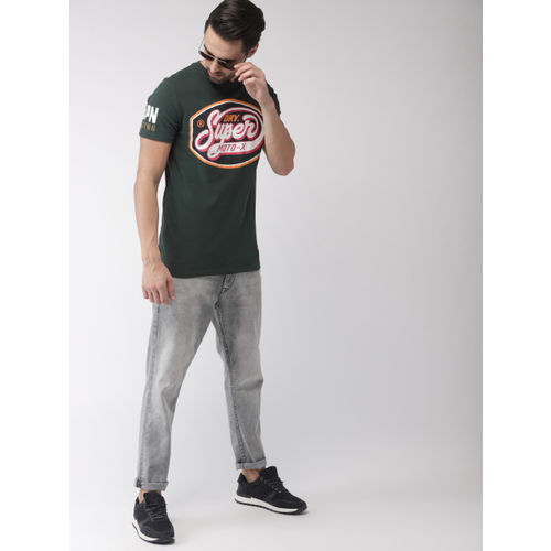 Superdry Men Green Printed Round Neck T-shirt