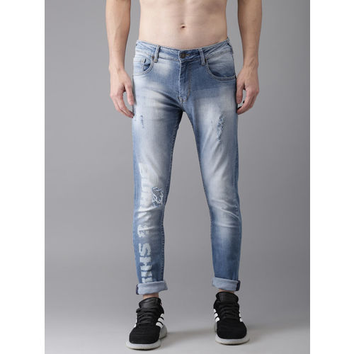 Moda Rapido Men Blue Slim Fit Mid-Rise Mildly Distressed Stretchable Printed Jeans