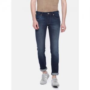 Wrangler Men Blue Skanders Slim Fit Low-Rise Clean Look Stretchable Jeans