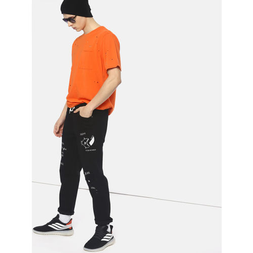 Kook N Keech Black Cotton Denim Slim Fit Casual Jeans