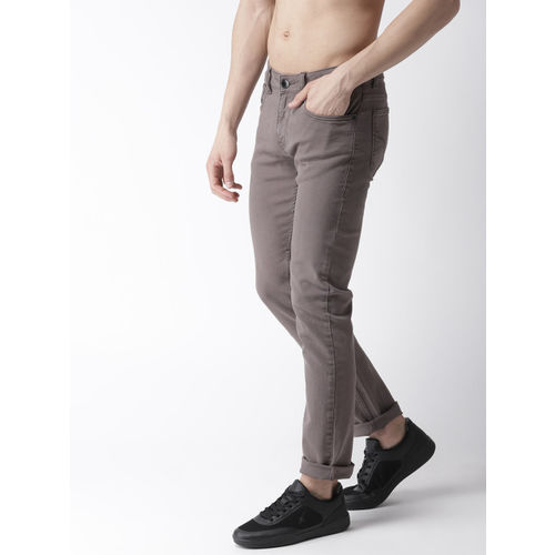 Flying Machine Men Taupe Slim Tapered Fit Mid-Rise Clean Look Stretchable Jeans