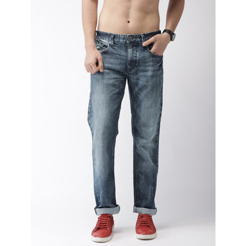 Flying Machine Men Blue Slim Straight Fit Mid-Rise Clean Look Stretchable Jeans