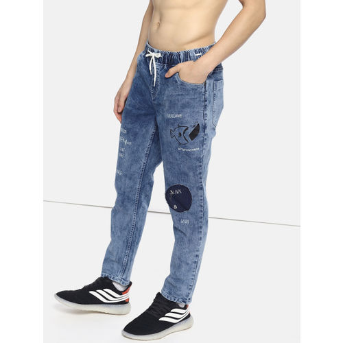 Kook N Keech Men Blue Slim Jogger Fit Mid-Rise Clean Look Stretchable Jeans