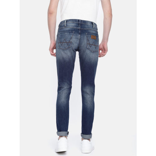 Wrangler Men Blue Slim Fit Mid-Rise Low Distress Stretchable Jeans