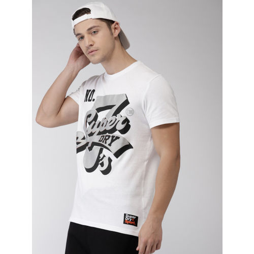 Superdry Men White Printed Round Neck T-shirt