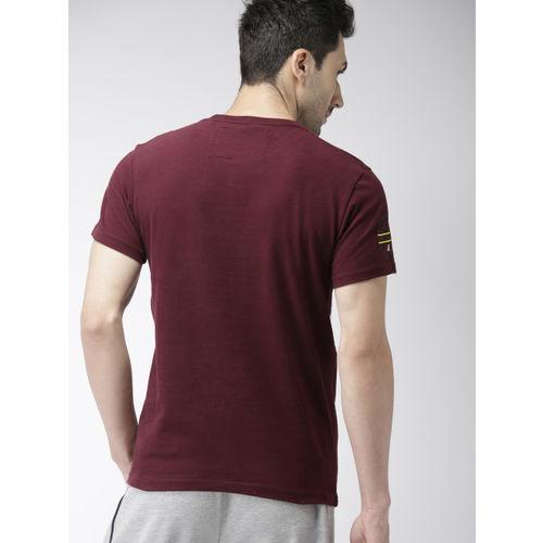 Superdry Men Maroon Printed Round Neck Sports T-shirt