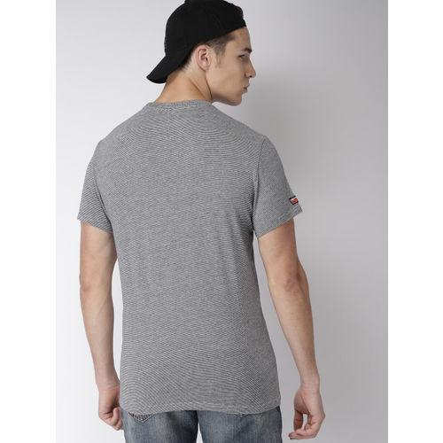 Superdry Men Navy Blue, Grey & Orange Printed Round Neck T-shirt