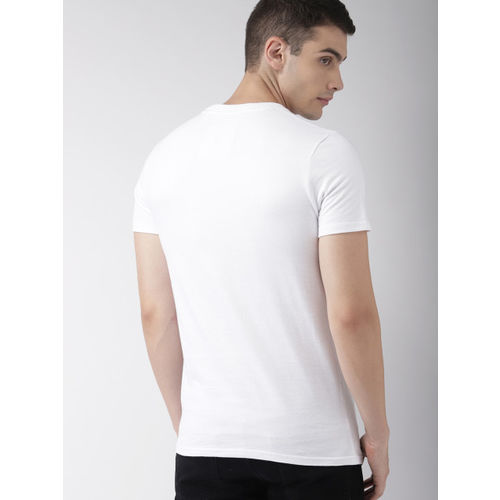 Superdry Men White Printed Round Neck T-shirt