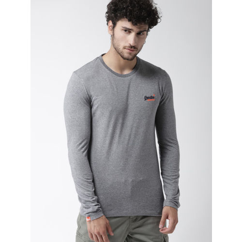 Superdry Men Grey Melange & Black Striped Round Neck T-shirt