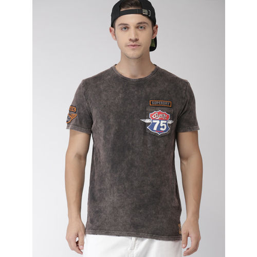 Superdry Men Charcoal Grey Printed Round Neck T-shirt