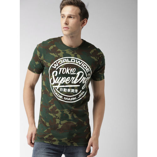 Superdry Men Olive Green & Brown Rubber Printed Round Neck T-shirt