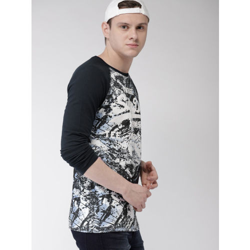 Superdry Men White & Navy Printed Round Neck T-shirt