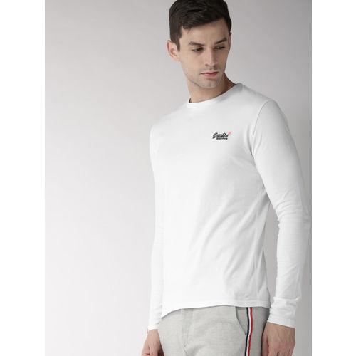 Superdry Men White Solid Round Neck T-shirt