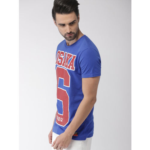 Superdry Men Blue Printed Round Neck T-shirt
