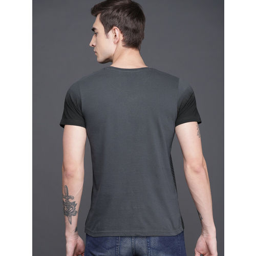 WROGN Men Charcoal Grey & Black Striped T-shirt