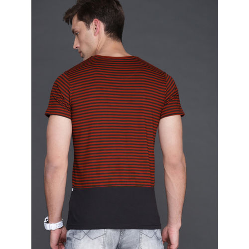 WROGN Men Red & Black Slim Fit Striped Round Neck T-shirt