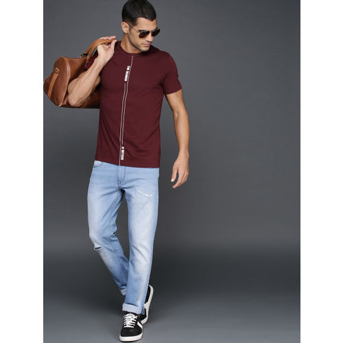 WROGN Men Maroon Printed Slim Fit Round Neck T-shirt