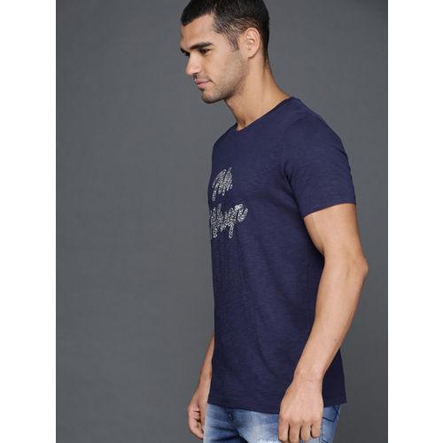 WROGN Men Navy Blue Printed Slim Fit Round Neck T-shirt