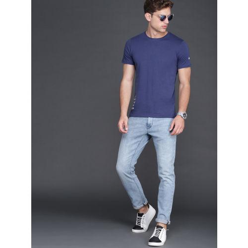 WROGN Men Blue Slim Fit Printed Round Neck T-shirt