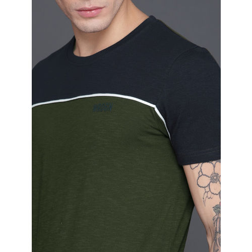 WROGN Men Olive & Navy Colourblocked Round Neck T-shirt