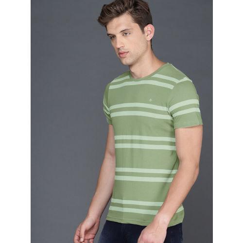 WROGN Men Green Slim Fit Striped Round Neck T-shirt