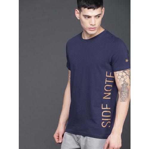 WROGN Men Navy Blue Printed Round Neck T-shirt