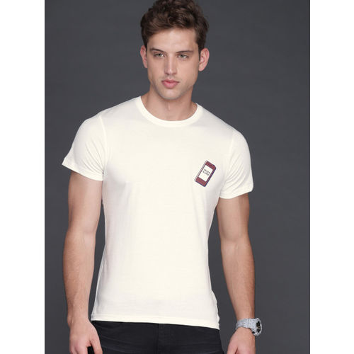 WROGN Men Off-White Solid Slim Fit Round Neck T-shirt