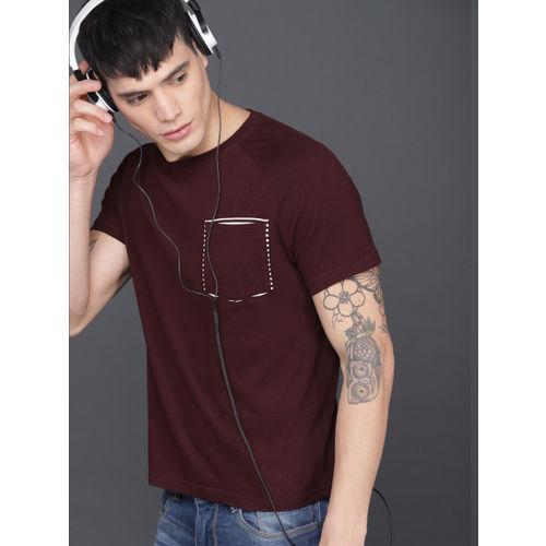 WROGN Men Burgundy Solid Round Neck T-shirt