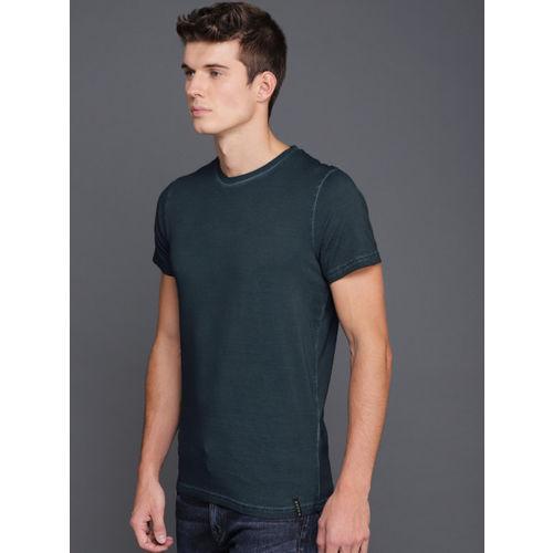 WROGN Men Navy Solid Round Neck T-shirt