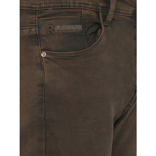 Rex Straut Jeans Men Brown Slim Fit Mid-Rise Clean Look Stretchable Jeans