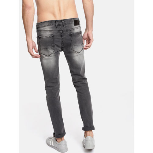 HERE&NOW Men Black Slim Fit Mid-Rise Clean Look Stretchable Jeans