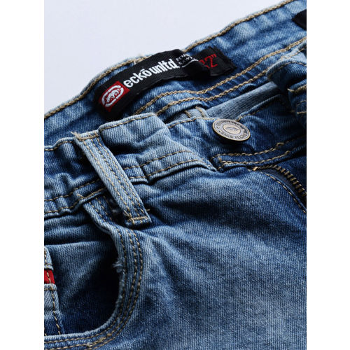 Ecko Unltd Men Blue Tapered Fit Mid-Rise Highly Distressed Stretchable Jeans