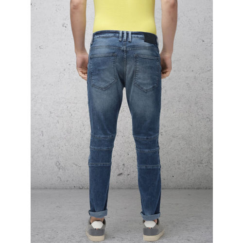 Ecko Unltd Men Blue Slim Tapered Fit Mid-Rise Low Distress Stretchable Jeans