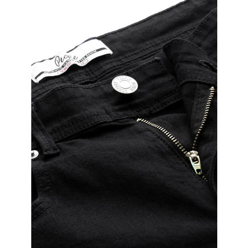 People Men Black Slim Fit Mid-Rise Clean Look Stretchable Jeans