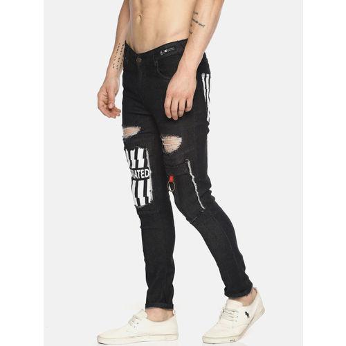 KULTPRIT Men Black Skinny Fit Mid-Rise Mildly Distressed Stretchable Jeans