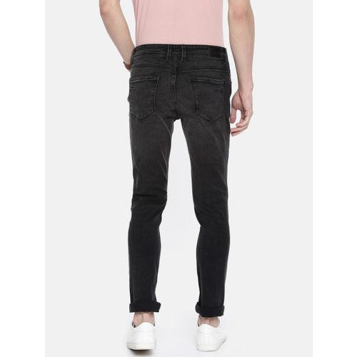 People Men Black Slim Fit Mid-Rise Mildly Distressed Stretchable Jeans