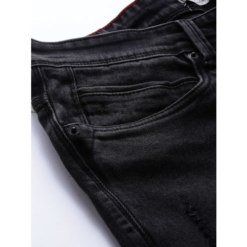 People Men Black Slim Fit Mid-Rise Mildly Distressed Stretchable Jeans
