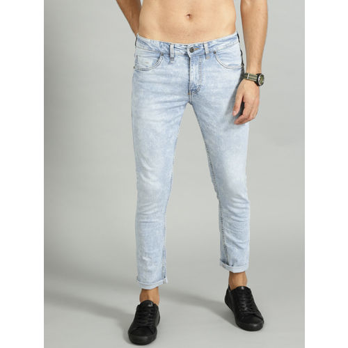 Roadster Men Blue Acid Wash Skinny Fit Mid-Rise Clean Look Cropped Stretchable Jeans