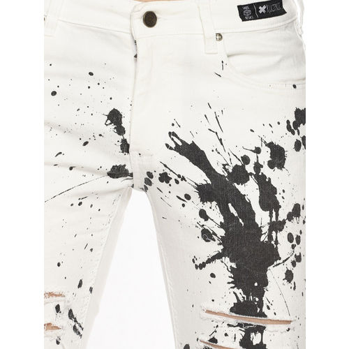 KULTPRIT Men White Skinny Fit Mid-Rise Highly Distressed Stretchable Jeans