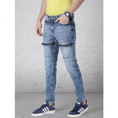 Ecko Unltd Men Blue Slim Tapered Fit Mid-Rise Clean Look Stretchable Ankle Length Jeans