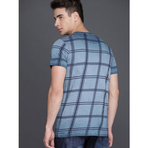 WROGN Men Blue Checked Round Neck T-shirt