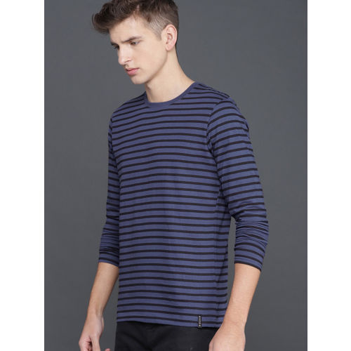 WROGN Men Blue & Black Striped Round Neck T-shirt