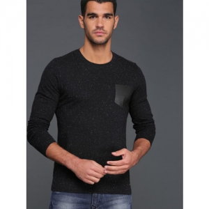 WROGN Men Black Self Design Round Neck T-shirt