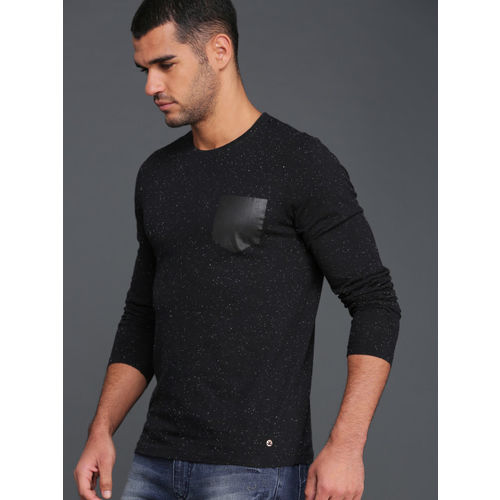 WROGN Men Black Self Design Round Neck T-shirt