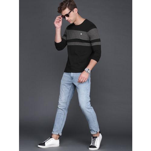 WROGN Men Black & Charcoal Grey Striped Slim Fit Round Neck T-shirt