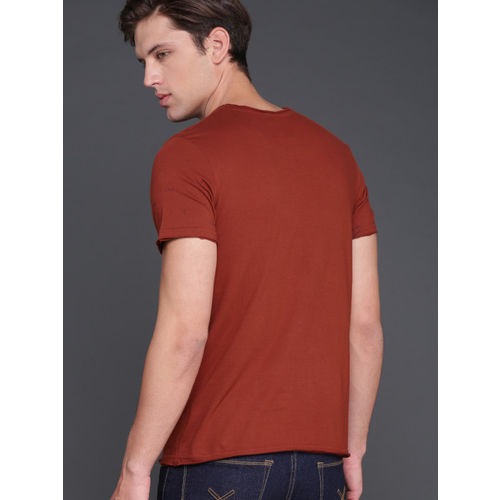 WROGN Men Rust Red Printed Round Neck T-shirt